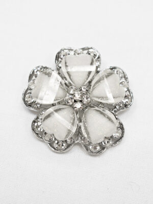 Пуговица металл серебро цветок белый со стразами (p0889) - Фото 14
