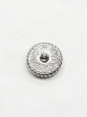 Пуговица черная текстильная в серебристой окантовке (р1066) - Фото 16