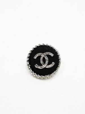 Пуговица черная текстильная в серебристой окантовке (р1066) - Фото 15