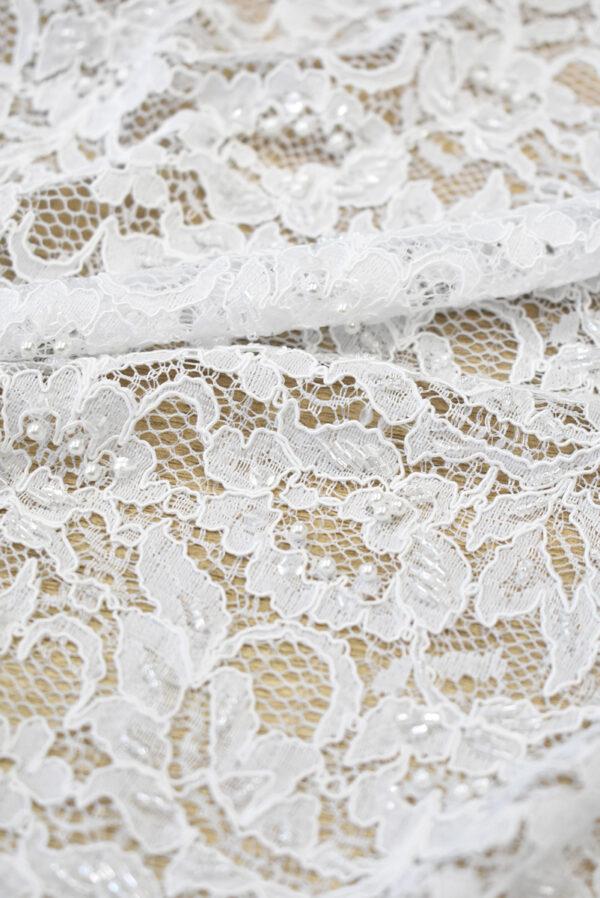 Кружево свадебное сутажное белое с бисером и жемчугом (1283) - Фото 7