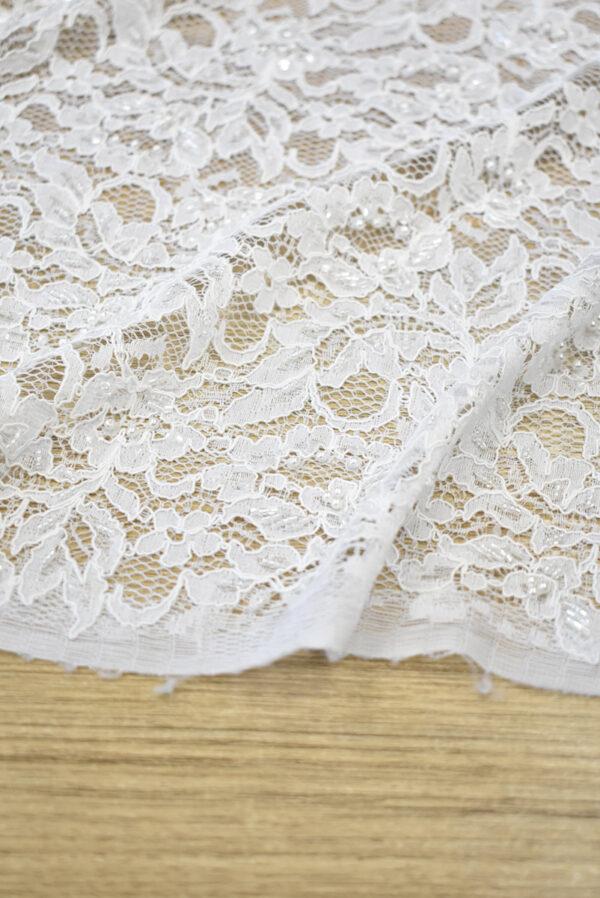 Кружево свадебное сутажное белое с бисером и жемчугом (1283) - Фото 11