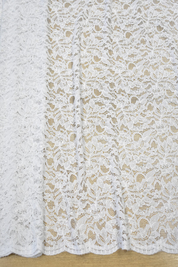 Кружево свадебное сутажное белое с бисером и жемчугом (1283) - Фото 6