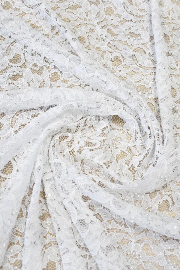 Кружево свадебное сутажное белое с бисером и жемчугом (1283) - Фото 8