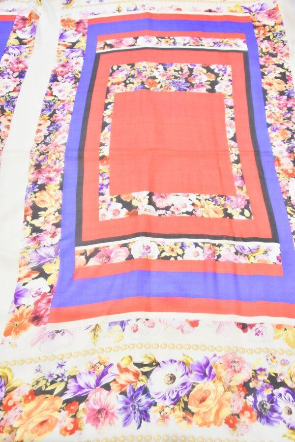 Шифон шелк купон красный синий с цветочной каймой (2950) - Фото 7