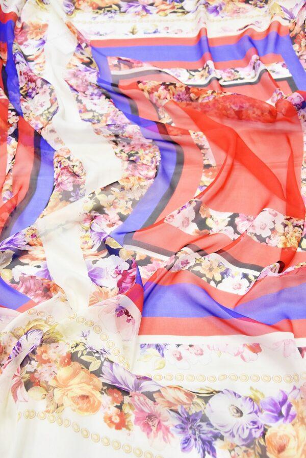 Шифон шелк купон красный синий с цветочной каймой (2950) - Фото 6