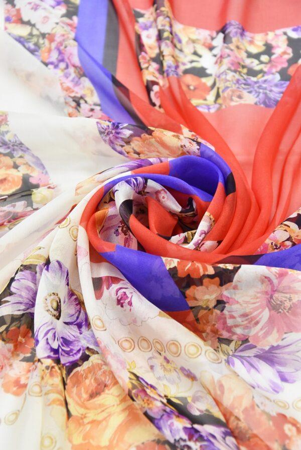 Шифон шелк купон красный синий с цветочной каймой (2950) - Фото 8