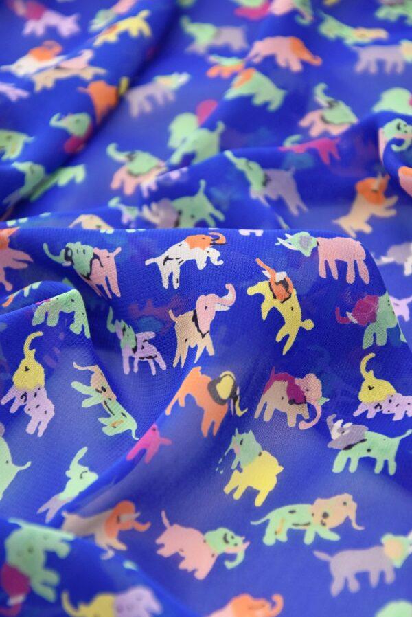 Шифон креп синий разноцветные слоники (3556) - Фото 10