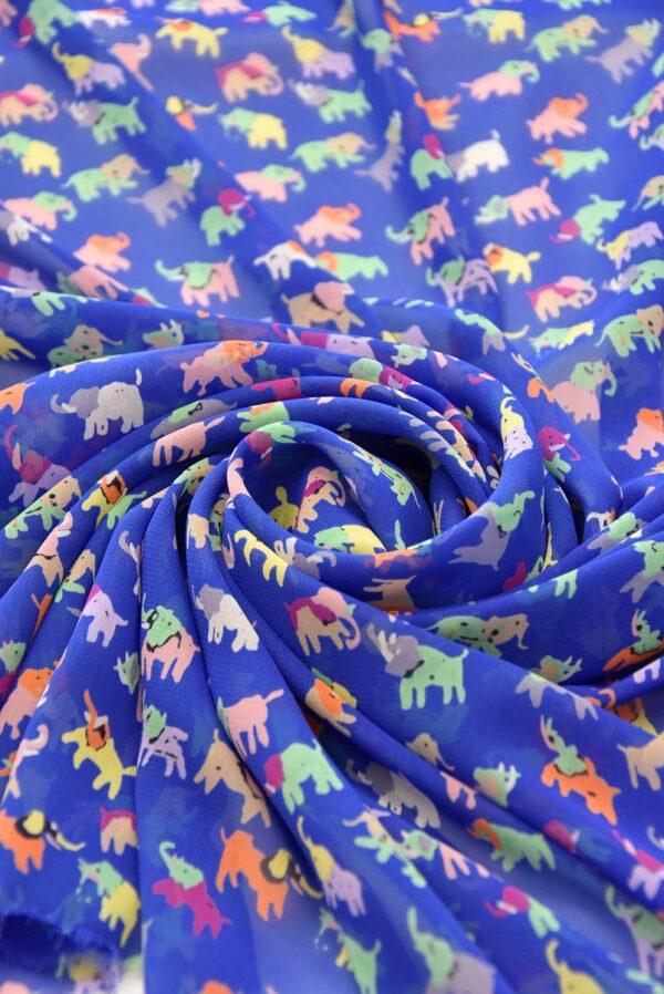 Шифон креп синий разноцветные слоники (3556) - Фото 9