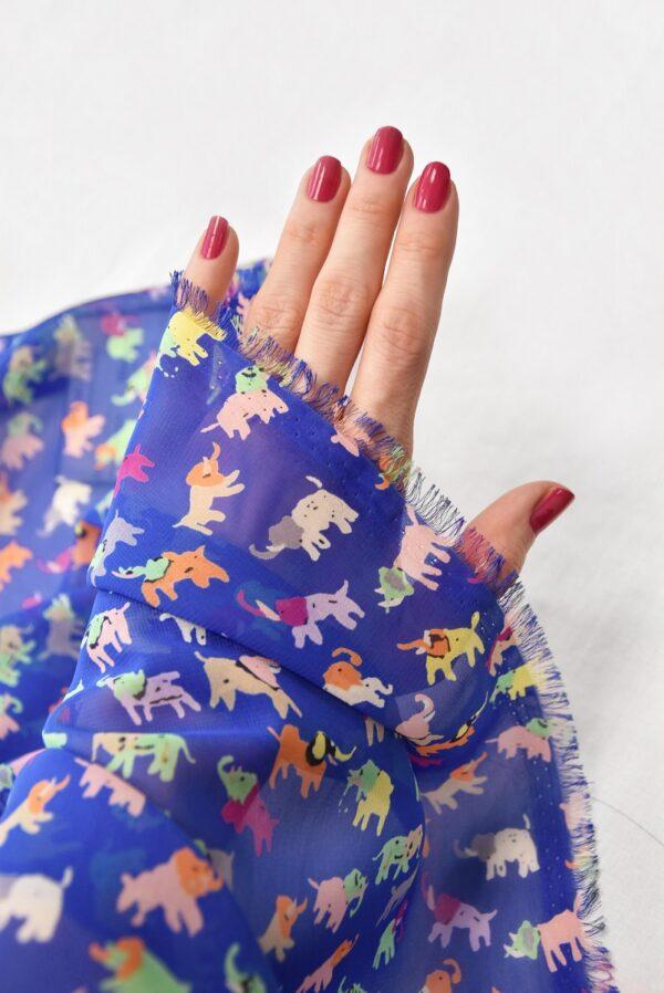 Шифон креп синий разноцветные слоники (3556) - Фото 11