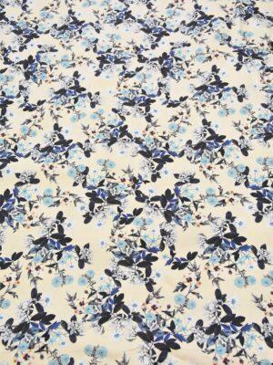 Хлопок стрейч ванильный в голубой цветочек (3961) - Фото 16