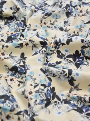Хлопок стрейч ванильный в голубой цветочек (3961) - Фото 15