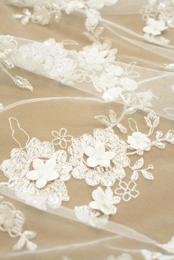 Кружево молочное свадебное 3д вышивка цветочный узор (4327) - Фото 9