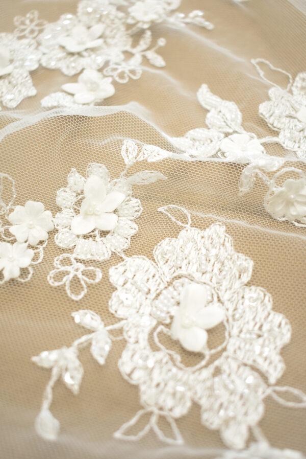 Кружево молочное свадебное 3д вышивка цветочный узор (4327) - Фото 11