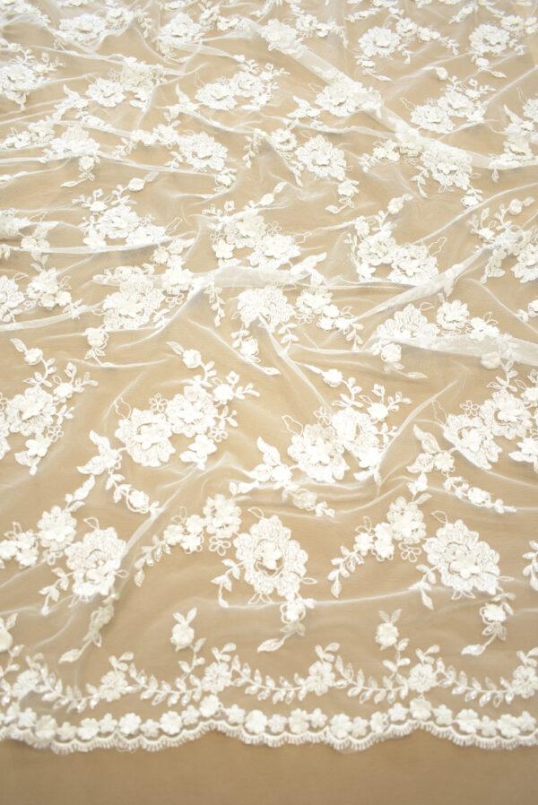 Кружево молочное свадебное 3д вышивка цветочный узор (4327) - Фото 6