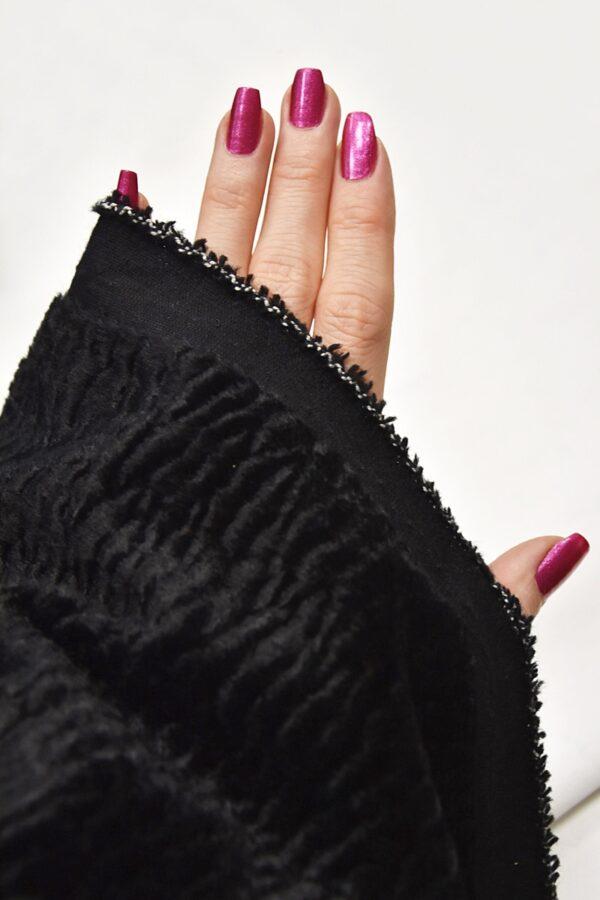 Каракуль искусственный мех черного цвета (4395) - Фото 10