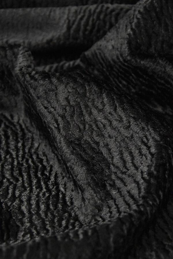 Каракуль искусственный мех черного цвета (4395) - Фото 9