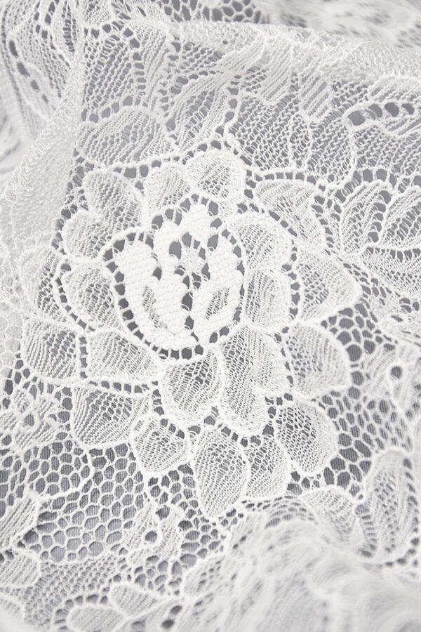 Кружево стрейч белое с цветочным узором (4403) - Фото 10
