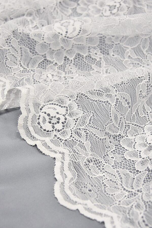 Кружево стрейч белое с цветочным узором (4403) - Фото 7