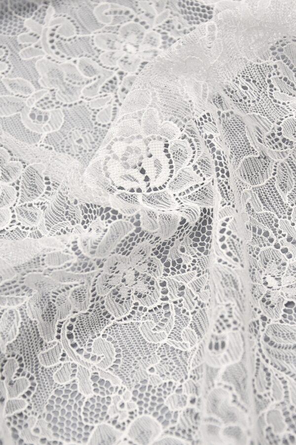 Кружево стрейч белое с цветочным узором (4403) - Фото 6