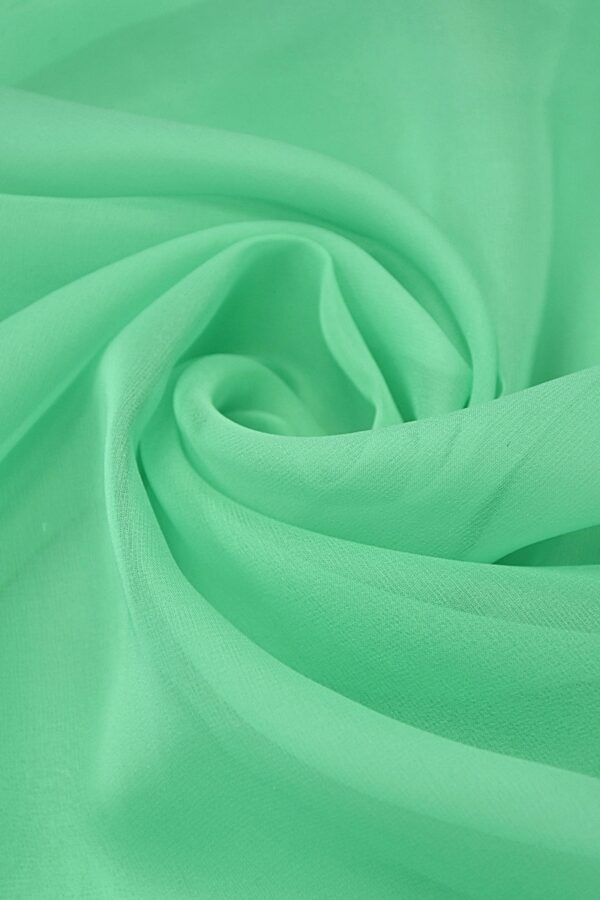 Органза шелк салатовая мята (4420) - Фото 7