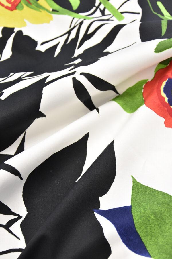 Хлопок стрейч крупные акварельные цветы на белом (4459) - Фото 8