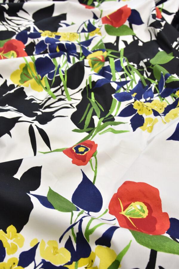 Хлопок стрейч крупные акварельные цветы на белом (4459) - Фото 6