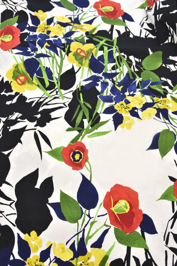 Хлопок стрейч крупные акварельные цветы на белом (4459) - Фото 7