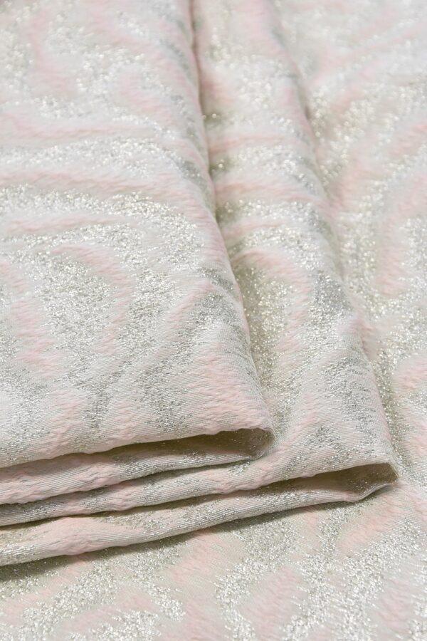 Жаккард шелк розовый серебристый тигр (4653) - Фото 8