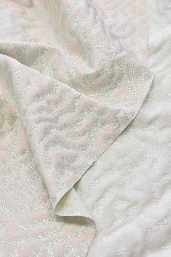 Жаккард шелк розовый серебристый тигр (4653) - Фото 9