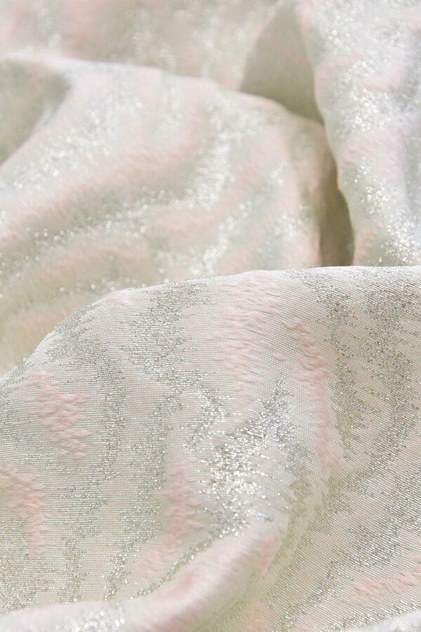 Жаккард шелк розовый серебристый тигр (4653) - Фото 10