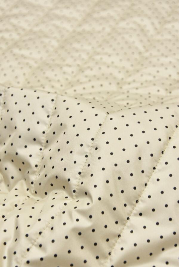 Курточная стеганая ткань беж в мелкий черный горошек (5388) - Фото 8