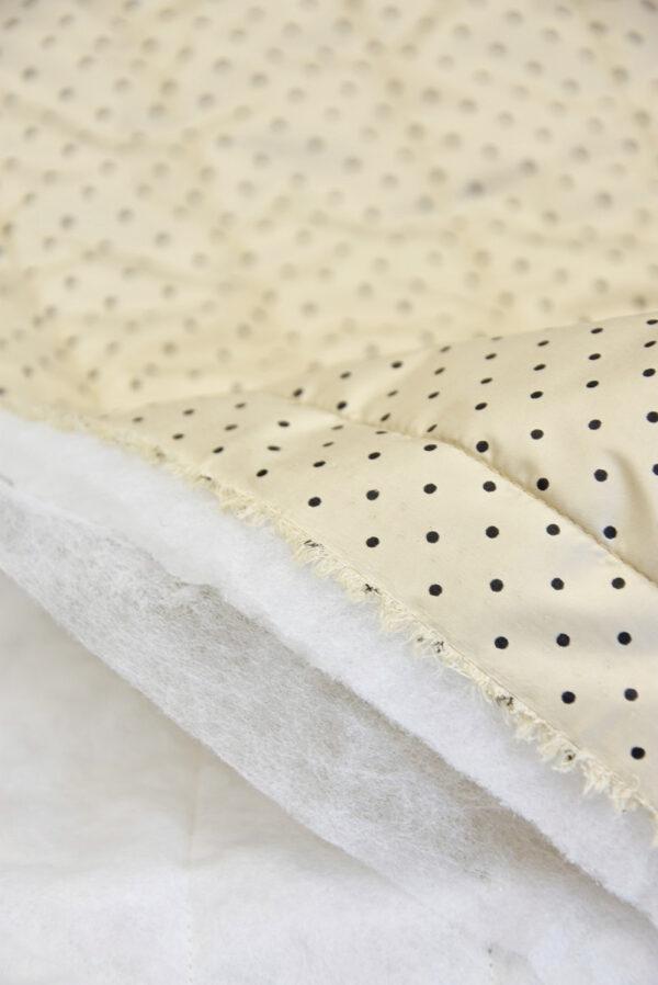 Курточная стеганая ткань беж в мелкий черный горошек (5388) - Фото 7