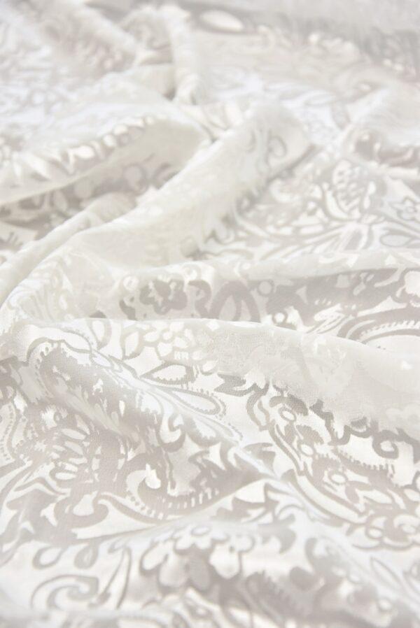 Шелк Деворе молочно-белый с купоном (5426) - Фото 8
