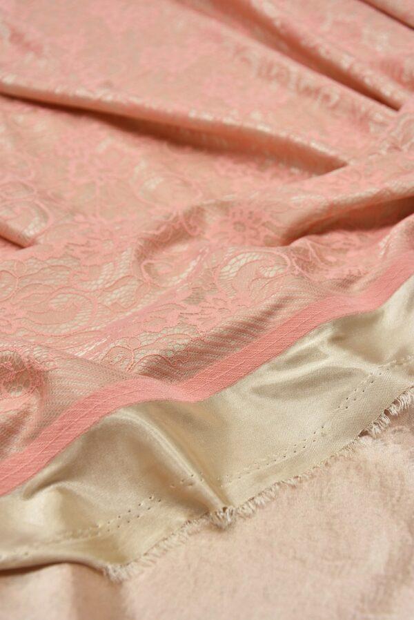 Кружево розовое на трикотажной основе бежевого цвета (5472) - Фото 9