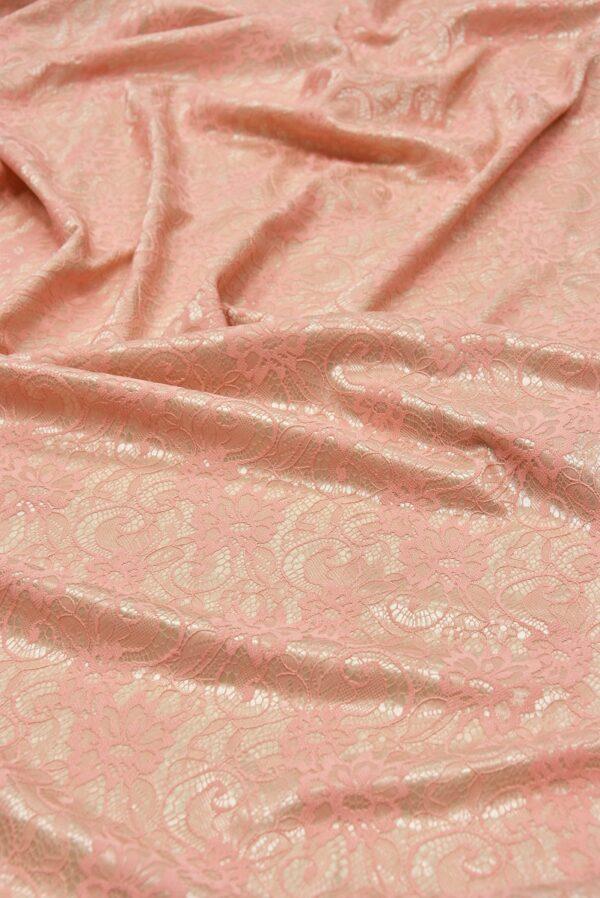 Кружево розовое на трикотажной основе бежевого цвета (5472) - Фото 6