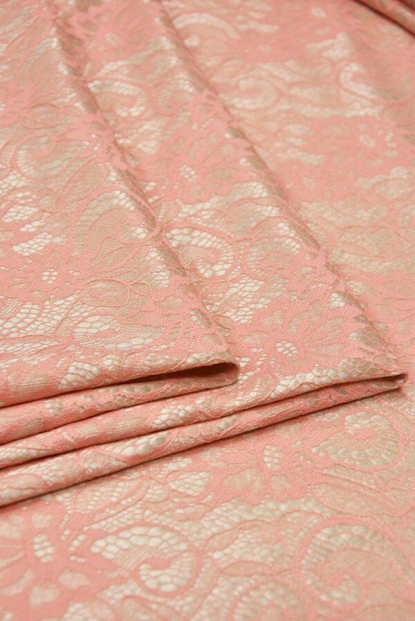 Кружево розовое на трикотажной основе бежевого цвета (5472) - Фото 8