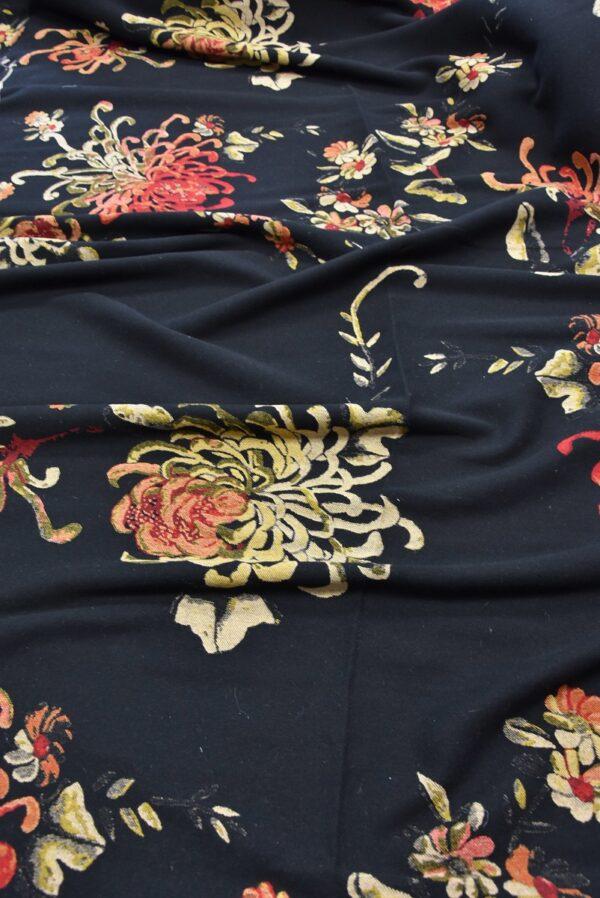 Гобелен шерсть крупные цветы на черном (5479) - Фото 6