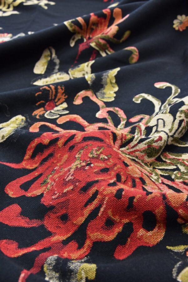 Гобелен шерсть крупные цветы на черном (5479) - Фото 10