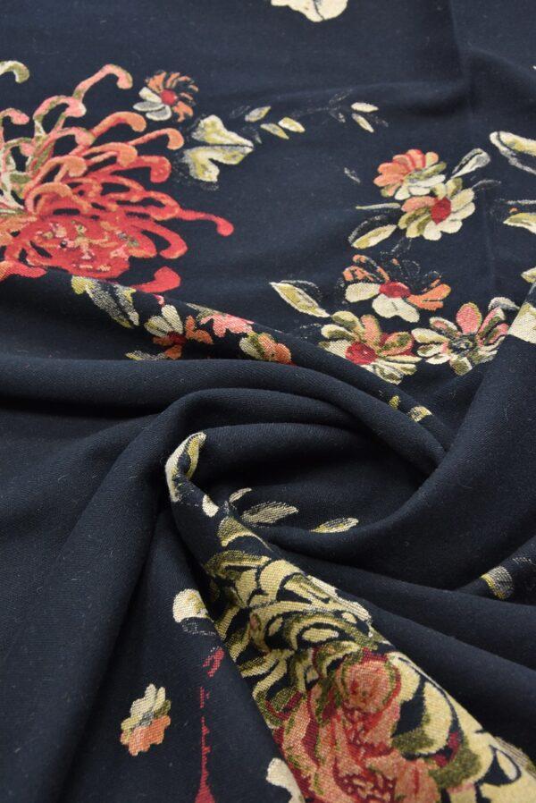 Гобелен шерсть крупные цветы на черном (5479) - Фото 7