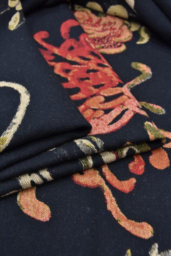 Гобелен шерсть крупные цветы на черном (5479) - Фото 9