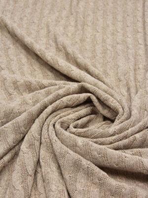 Трикотаж вязаный кремовый меланж с косичками (5698) - Фото 13