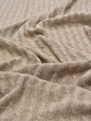 Трикотаж вязаный кремовый меланж с косичками (5698) - Фото 12