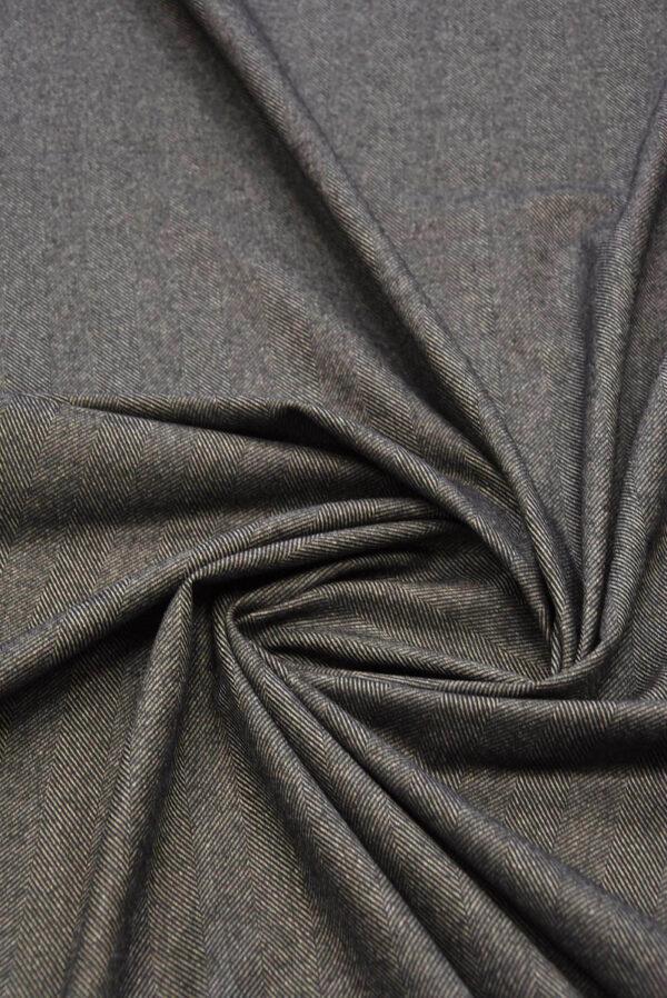Твид костюмный серо-коричневый в крупную елочку (5782) - Фото 7