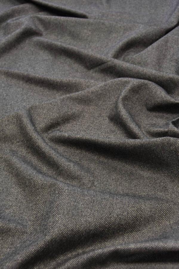 Твид костюмный серо-коричневый в крупную елочку (5782) - Фото 6