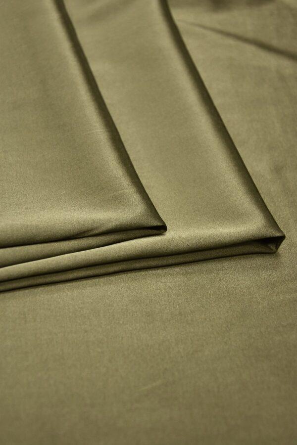 Шелк атласный стрейч оттенок хаки (5947) - Фото 8