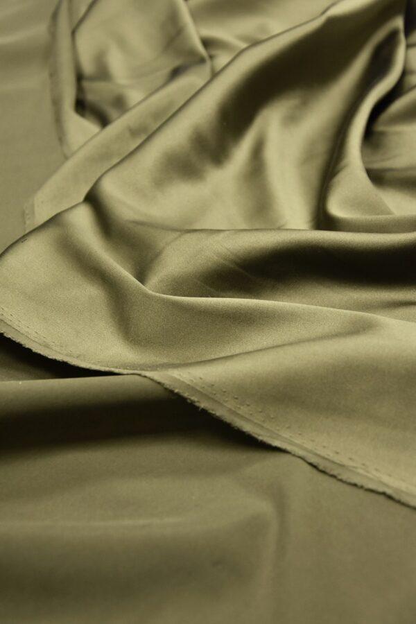 Шелк атласный стрейч оттенок хаки (5947) - Фото 9