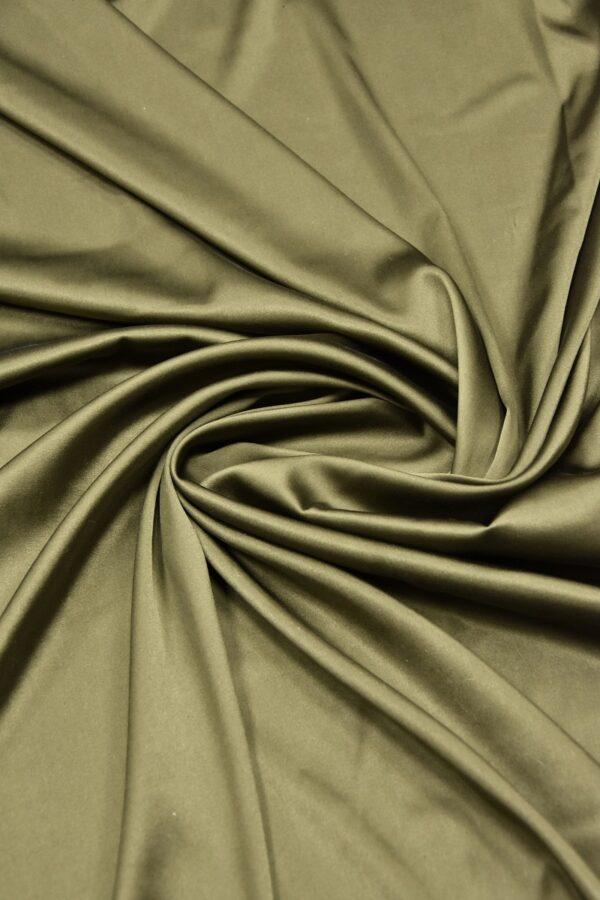 Шелк атласный стрейч оттенок хаки (5947) - Фото 7
