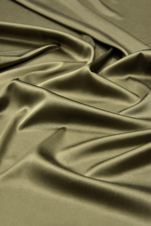 Шелк атласный стрейч оттенок хаки (5947) - Фото 6