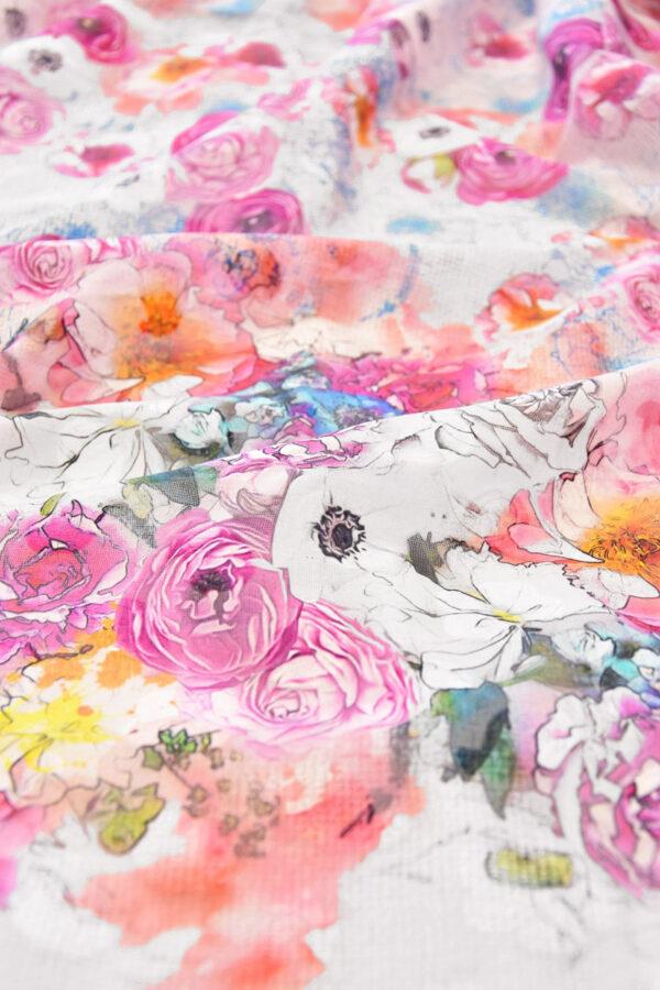 Батист с вышивкой филькупе белый с розовыми цветами (6271) - Фото 8