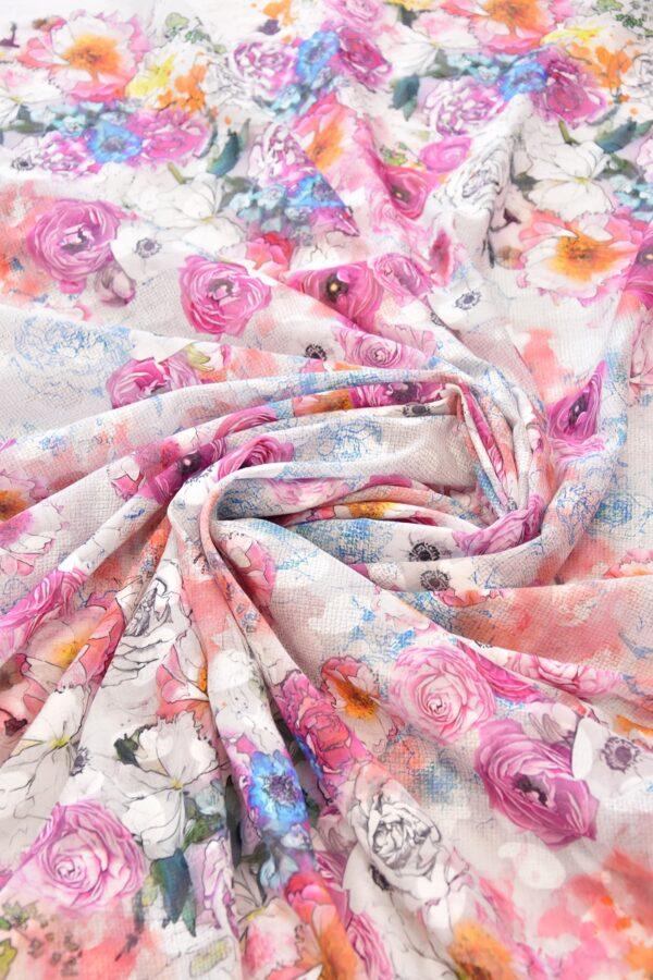 Батист с вышивкой филькупе белый с розовыми цветами (6271) - Фото 7
